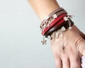 Double Wrapped Bright Red Leather Bracelet with a Silver Heart
