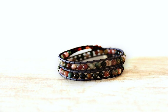 Tourmaline Bracelet with Double Wrapped Leather Cord - Gift for Men