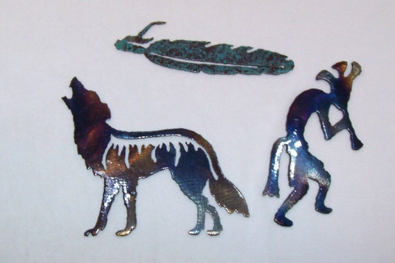 Kokopelli, Coyote, Feather, Wall Hangings, Lazer Cut Steel