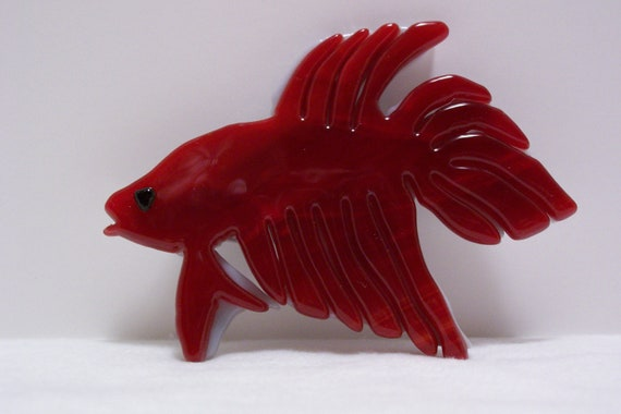 Japanese fighting fish red fish by slipperyreef on etsy for Japanese fighter fish