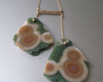 Ocean Jasper Double Slice Solid 14k Gold Necklace