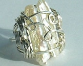 Sterling Silver Biwa Stick Pearl Ring