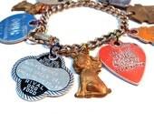 Dog Day Afternoon Charm Bracelet Vintage Assemblage Dog Tags