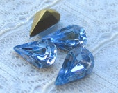 13x8 Swarovski Rhinestone Light Sapphire Blue Pear Shape Qty 4