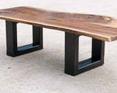 Steel Base Coffee Table - live edge bench - Acero - Solid Walnut Occassional - Handmade in the USA - Custom Fine Furniture