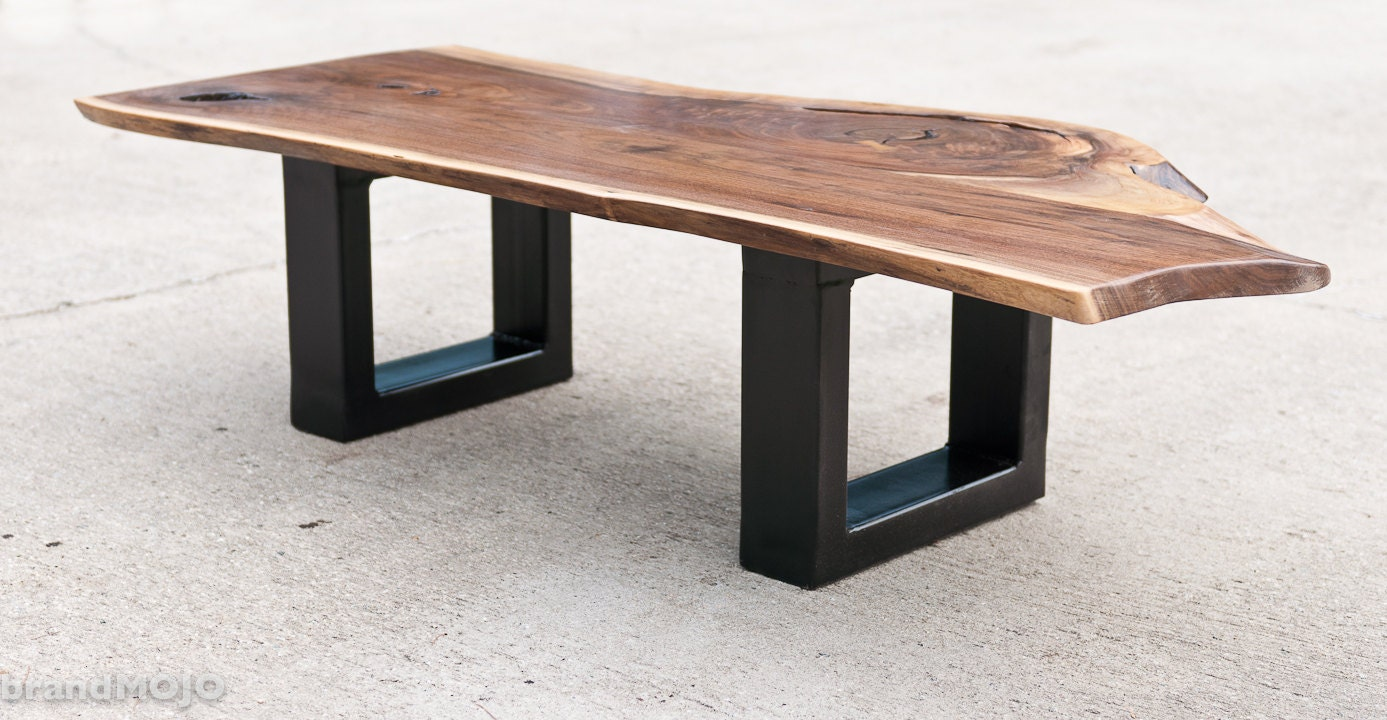 Steel base coffee table live edge bench by brandmojointeriors Live wood coffee table