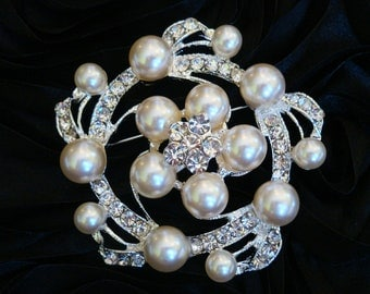Swirl Style 55mm Silver Plated Ivory Pearl Brooch Pin with Rhinestones & Crystals, Wedding Accessories, Bridal