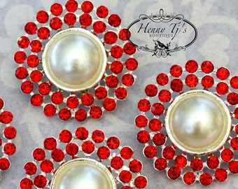 4 pieces - 25mm Silver Plated Metal LIGHT SIAM RED Crystal Pearl Rhinestone Buttons - wedding / hair / garment accessories Flower Center