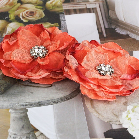 NEW: Bravo Collection - Vintage Style Orange Tangerine Layered Fabric Flowers with sparkling rhinestone Center