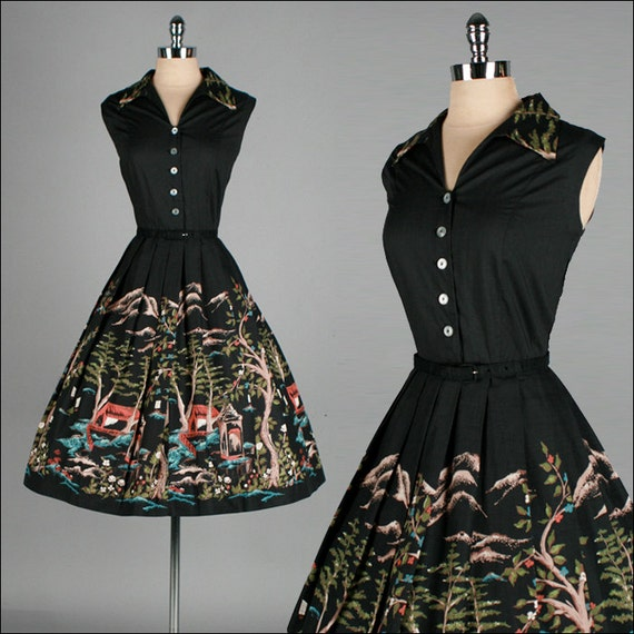 Vintage 1950s Dress . Black Cotton . Full Skirt . Novelty Print . M/L . 1880