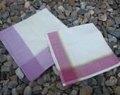 Set of 2 Vintage Hankerchiefs - Purples & White