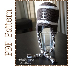 Crochet Football Hat  Pattern, 8 Sizes from Newborn to Adult, FOOTBALL - pdf 306