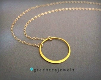 crescent necklace-gold  - gold vermeil circle - 14k gold filled chain - simple modern jewelry