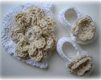 Pure White and Ecru Baby Hat and Booties Set 0-3 months