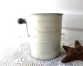 Rustic Vintage FLour Sifter. Sage Green. Kitchen Utensil collectible