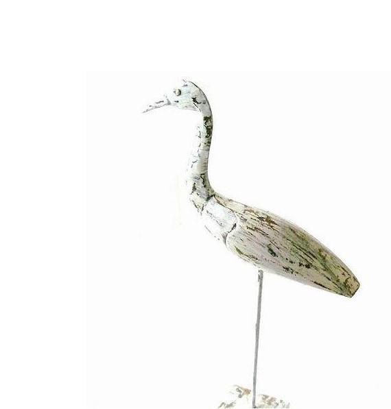 White Heron Art. Sculptured. Carved. Wood Heron. Shorebird. Shabby Chic White. NAutical. Ocean. Beach.