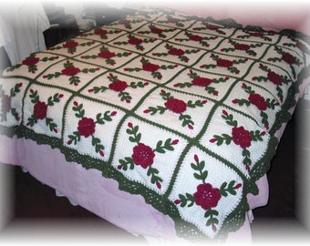 Rasberry Roses Afghan Blanket Throw - Made Fresh after Sale - 30 squares