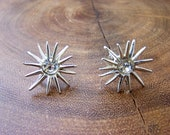 Silver Starburst with Clear Rhinestone Screw back Clip Earrings Unsigned