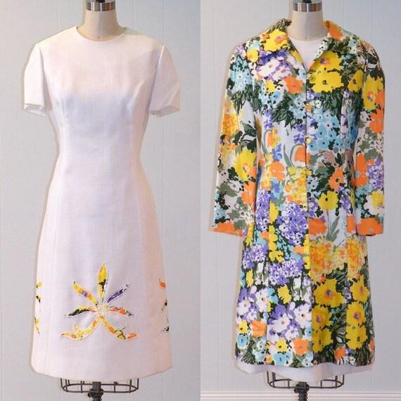Hold 60s Floral Dress & Jacket / 60s Linen Spring Dress Floral Jacket, White Cocktail Garden Wedding Dress Set, Dan Lee Vintage Dress Set