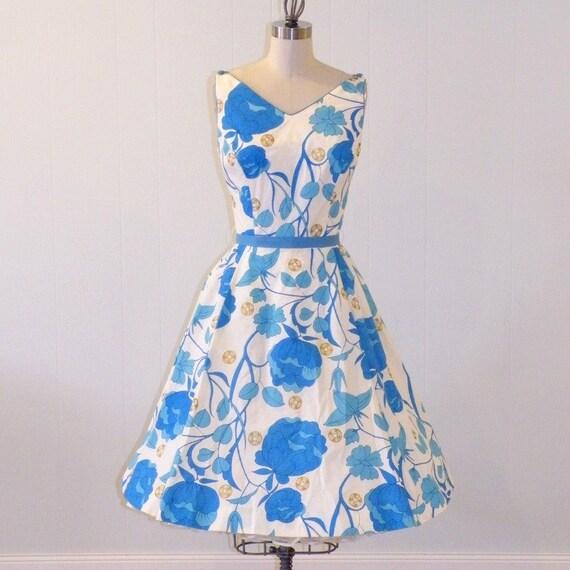 1960s Alfred Shaheen Dress, 60s Hawaiian Sun Dress, Vintage Blue Floral & Metallic Gold Asian Print Full Skirted Garden Party SunDress Smal