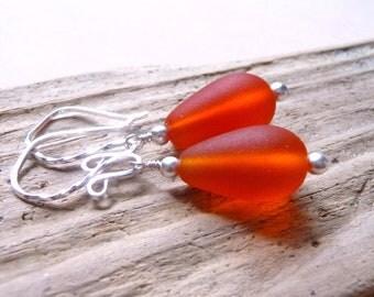 Sea Glass Earrings, Tangerine Orange Frosted Teardrops, Sterling Silver Earrings, Vibrant Orange, Fall Fashion, Autumn