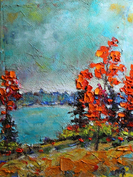 Autumn on The Lake- Original  Oil Painting on Canvas 9x12