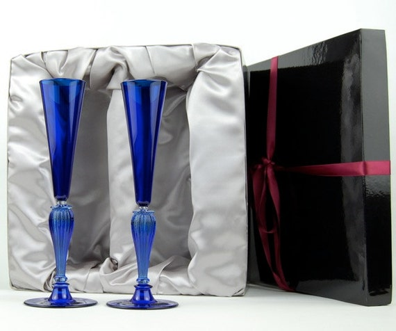 Hand blown glass champagne toasting flutes cobalt blue by kivaford - Hand blown champagne flutes ...