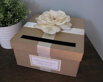 Rustic Wedding Card Box, Custom Wedding Cardbox, Handmade Card Box, Recepton Card Box, Wedding Gift Card Box, Custom Card Tag, Ivory Rose