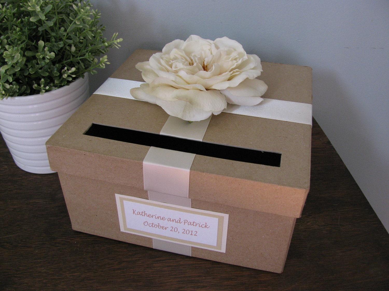 Card Gift Box Wedding: Rustic Wedding Card Box Custom Wedding Cardbox Handmade Card