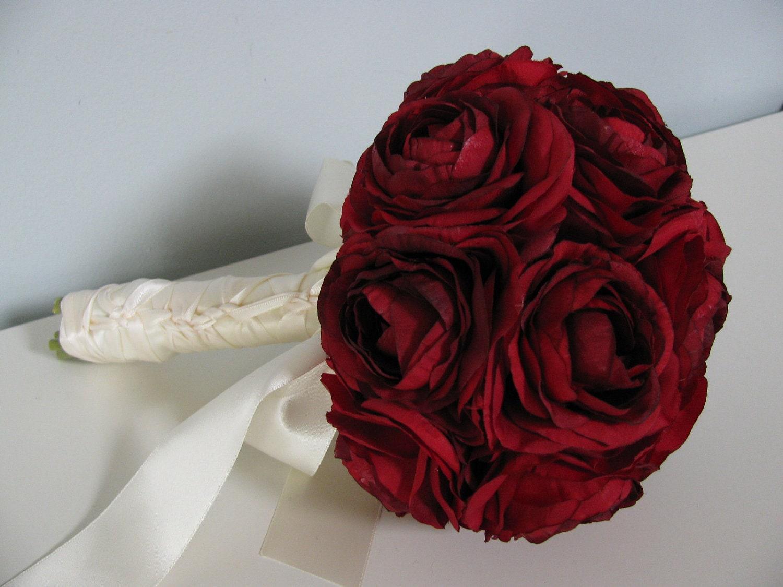 Bridal bouquet red ranunculus silk flowers by astylishdesign