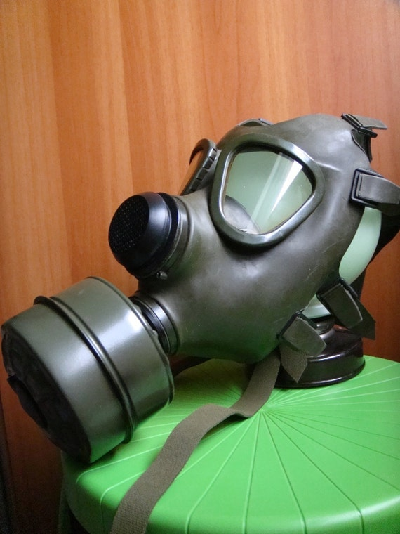Vintage Green Civilian Gas Mask from East Europe