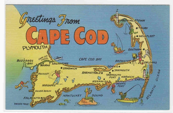 Greetings from Cape Cod Massachusetts Map linen postcard