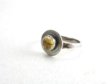 Sterling Silver Citrine November Birthstone Ring Yellow Gemstone Ring