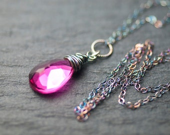 """Hot Pink Quartz Oxidized Sterling Silver Wire Wrapped Pendant Necklace - Rubellite, Fuchsia, Magenta, Rose, Blush, Gemstone, Lotus - """"Lily"""""""