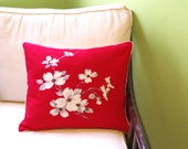 Vintage Dogwood Pillow- Red- Vintage Fabric - Woodland Decor- Recycled- Shabby Chic- North Carolina- Virginia State Flower-Includes Insert