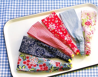 Wide Headbands Set of 3: All American -Red White Blue-  Bandana- Picnic Florals- Gingham-Choose from 42 Patterns- Ready to Ship