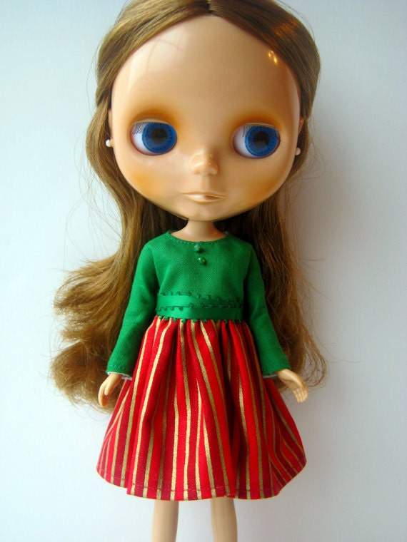Green Long Sleeved Blythe Dress Red Gold Stripes Holiday Dress