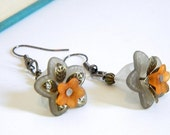 Earrings. Jewelry, Gray, Gorgeous, Flower, Dainty, OOAK, Yellow, Upcycled, For Her. Handmade jewelry by AnotherUse on Etsy.