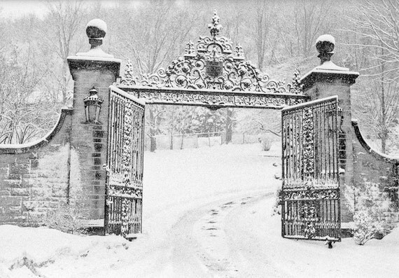 Black architectural photography details iron gate new snow