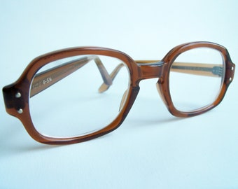 Retro 1950s USS Brown Eyeglasses