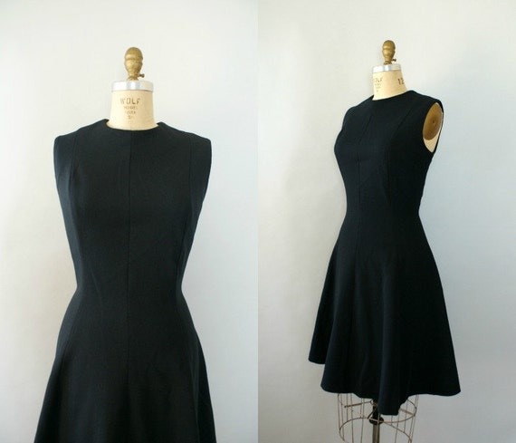 Vintage 1960s Fit-N-Flare Little Black Dress - 60s Basic Black Dress