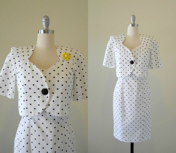 Vintage 1980s Dress and Jacket -- Black & White Polka Dot Wiggle Dress with matching Bolero jacket