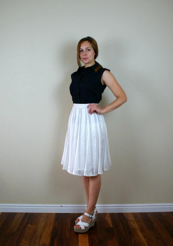 Vintage 1980s skirt  --  Sheer White layered Silk  flare skirt