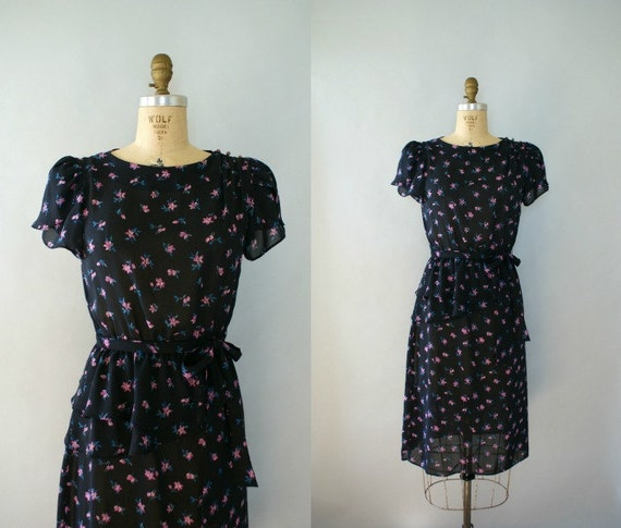 Vintage 1980s Dress -  Sheer Black Peplum Floral
