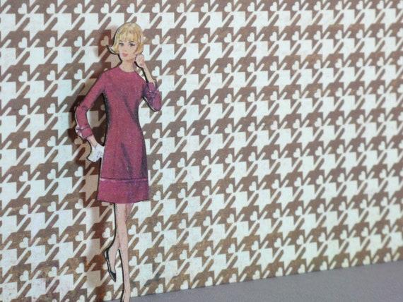 The Beatles Era 1960s Vintage Girl Wood Laser Cut Brooch Wooden Jewelry