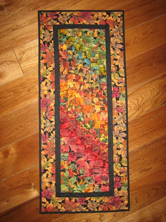 Art Quilt, Autumn Leaves Fabric Wall Hanging