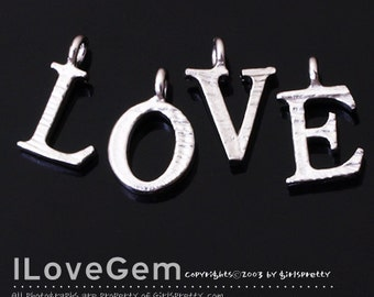 NP-1328 Matt Rhodium plated, LOVE dangles, 1 set