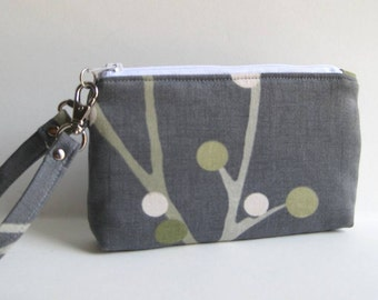 Wristlet in Gray with Green, Gold and White Branch/Blossoms