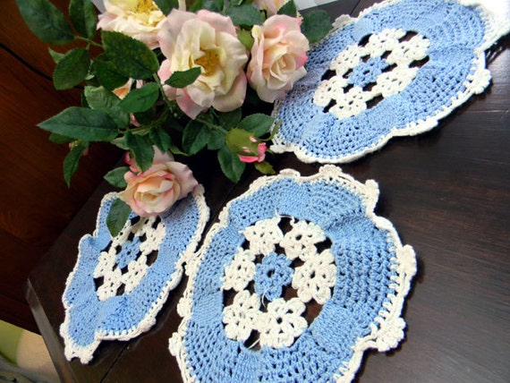 3 Crocheted Blue and White Doilies 7853