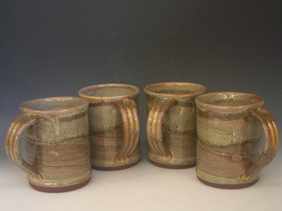 Hand thrown stoneware pottery large size mugs set of 4